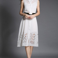 White Pointed Flat Collar Sleeveless Belted Mesh Cutout A-Line Midi Pleated Dress