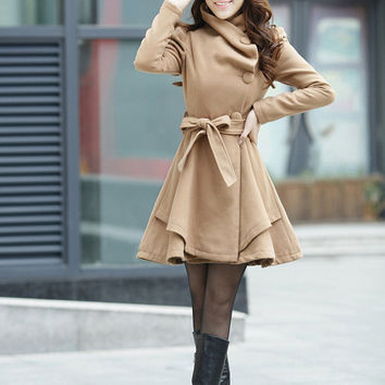 Pink Women coats OL Wool coat Cashmere winter coat Hood cloak Hoodie cape Hooded Cape/clothing /jacket/dress