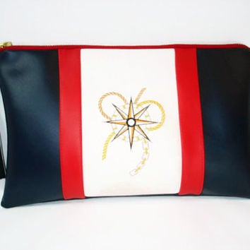 Nautical Clutch, Zippered Navy Clutch, Vegan Leather Clutch, Rectangular Purse, Nautical Theme Clutch, Summer Clutch, Mother's Day Gift