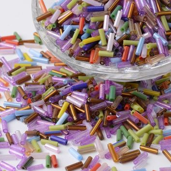 Multi Color Bugle Czech Glass Beads European Seed Spacer Beads 1300pcs/lot Long Tube Beads For DIY Jewelry Making