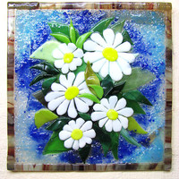 Painted glass Daisies Fusing Home decor wall Living room Kitchen Bathroom Handmade Gift for women mother sister girlfriend granny employee