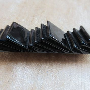 Vintage Black Bakelite Geometric Pin Authentic Deco Bakelite
