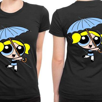 DCCK7H3 The Powerpuff Girls Blue Umbrella 2 Sided Womens T Shirt