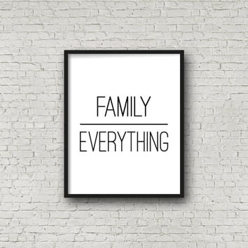Family Over Everything, Family Sign, Minimalist Poster, Wall Art Print, Instant Download, Quote Art, Wall Hanging, Family Print, Printable