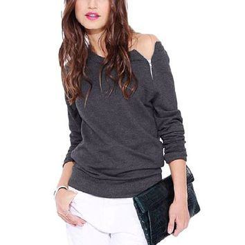 [15039] One Side Zip Off Shoulder Sweatshirt