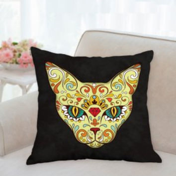 Day of the Dead Pillow, Halloween Pillow,Dias De Los Muertos Pillows , 3 sizes, Skull pillow, Cat Skull Pillows, Accent Pillow, SofPillow
