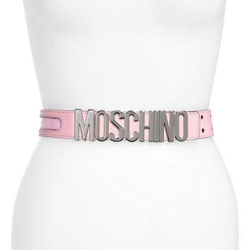 Moschino Logo Plate Inset Belt | Nordstrom
