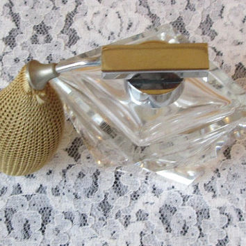 Vintage Crystal Perfume Bottle with Atomizer