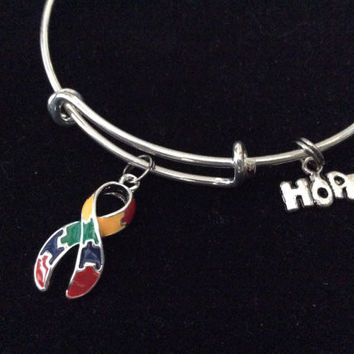 Autism Puzzle Awareness Ribbon Expandable Charm Bracelet Adjustable Wire Bangle Expandable Gift (Other Awareness Ribbons Available)