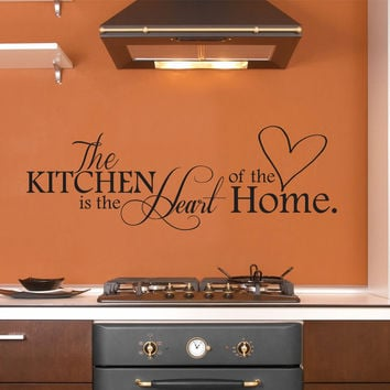 The Kitchen is the Heart of the Home Wall Decal, Kitchen Wall Decor Wall Art Wall Sticker for the Kitchen 40x10