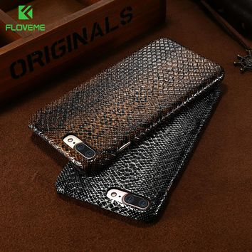 FLOVEME For iPhone 7 6 6S Plus 5 5S SE Luxury Crocodile Snake Leather Case Cover For Apple iPhone 7 6 6S Plus Phone Bag Coque