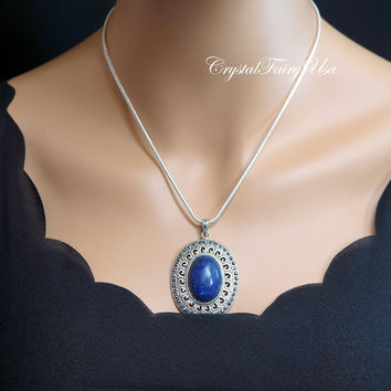 Vintage Lapis Necklace Sterling Silver Lapis Lazuli Necklace Large Lapis Pendant  September Birthstone Mother's Gift