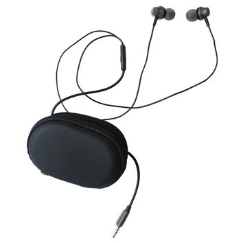 Earbuds with Microphone in Ear Headphones Earphones Stereo Extra Bass Wired 3.5mm Noise Isolating with Zipper Case for Apple iphone Samsung (Gray)