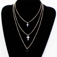 Three layers of clothing accessories chain necklace sweater love small cross