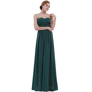 Women Long Maxi Dress Vestido De Festa Chiffon Bridesmaid A-Line Summer Dress Sleeveless Strapless Wedding Party Long Dress