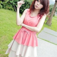 Harajuku Lotus Leaf Hem Sleeveless Lace Up Dress - Pink or Dark Blue from Tobi's Finds