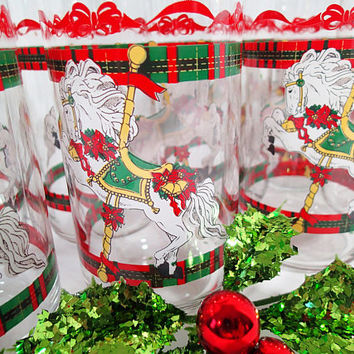 Christmas Carousel Glasses, Set of 8 vintage 1990 House of Lloyd, pretty White Carousel Ponies, red and green plaid bands. Horse Lover gift