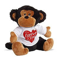"Hearts & Curls ""Love You"" Plush Stuffed Monkey (10"" high)"