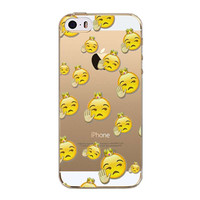 iPhone 5 5S SE Ultrathin Transparent Soft Silicon TPU Cases Funny Emoji