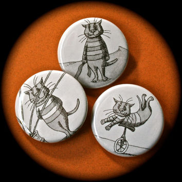 Three Pinback Buttons Featuring Cat Illustrations by Edward Gorey - CATS1