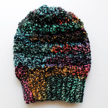 Ready to Ship Crochet Slouchy Hat, Crochet Slouchy Beanie, Crochet Beanie in Rainbow Wool Blend, The Bailey Slouchy Beanie, Soft Wool Blend