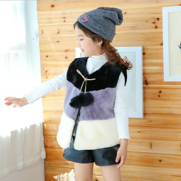 Baby kids winter clothes Winter Fashion down jacket for children Faux fur vest Baby girls Well-designed striped Outwear Coats