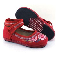 Old Beijing Embroidered Cloth Shoes Kid   red