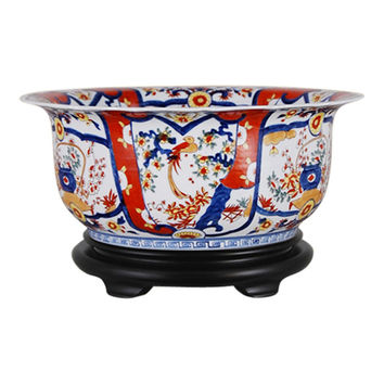 "Beautiful Imari Style Porcelain Bowl with Stand 15"" Diameter"