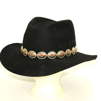 "Western Cowboy Hat Men ""Outback"" Black with Silver Conch Hatband Sz XL 100% Wool Felt 