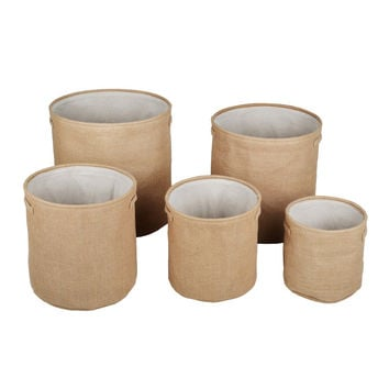 "Dillon Storage Organizers, Set of 5 Round Bins, Khaki, 10"" - 18"""