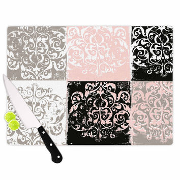"Chickaprint ""Damaskmix"" Pink Gray Cutting Board"
