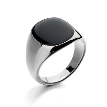 Rebellious - Black Plated Smooth Ring - Silver