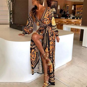 Laamei 2019 New Style Fashion Women Sexy  Neck Glitter Deep V Neck Print Party Dress Formal Long Dress Sexy Clubwear