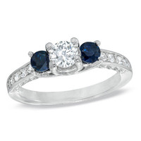 3/8 CT. T.W. Diamond and Blue Sapphire Three Stone Engagement Ring in 14K White Gold - View All Rings - Zales