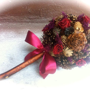 Rustic wedding bouquet pine cone country burgundy fall winter bridal flowers alternative bouquets