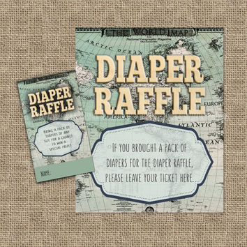 Welcome to the World Baby Shower Diaper Raffle Sign Ticket Printable, Vintage Map Baby Shower, Antique Map Baby Shower, World Baby Shower