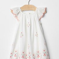 Bright eyelet flutter dress