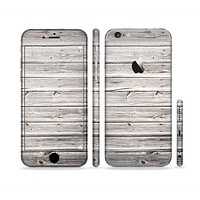 The Aged White Wood Planks Sectioned Skin Series for the Apple iPhone 6