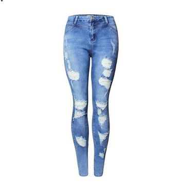 Hot Fashion Ladies High Waist Jeans Cotton Denim Pants Stretch Womens Bleach Ripped Skinny Jeans For Female