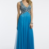 Beaded Cut-Out Grecian Dress