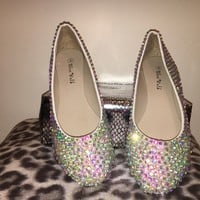 Bedazzled Ballet Flats In White With AB Crystals