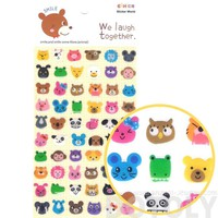 Adorable Pig Bunny Owl Cat Bear Animal Face Shaped Jelly Stickers for Scrapbooking and Decorating