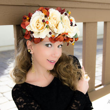 Large Autumn Rose Flower Crown, Flower Halo, Autumn Headpiece, Autumn Headband, Bridal Headpiece, Occasion Dress, Holiday Clothes