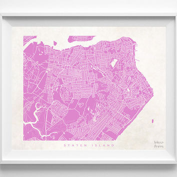 New York, Staten Island, Print, Map, NY, Poster, State, City, Street Map, Art, Decor, Town, Illustration, Room, Wall Art, Customize