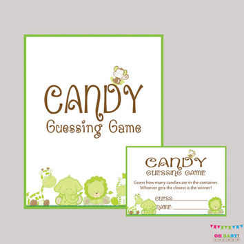 Candy Guessing Game Gender Neutral Safari Baby Shower Printable - Guess How Many Candies M&Ms, Jelly Beans  Instant Download Game BS0001-G