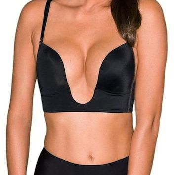 Sexy V Shape Push Up Deep Plunge Convertible V BRA Max Cleavage Booster Shaper (34C, Beige)