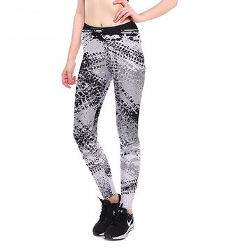 Gray Abstract Workout Leggings