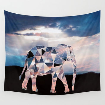 Pink Polyscape Elephant Geometric Africa Tapestry Wall Hanging