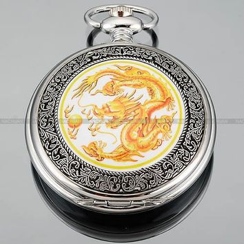 Bronze Copper Dragon White Dial Pocket Watch