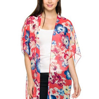 Coral & Blue 3/4 Sleeve Floral Print Kimono Cardigan
